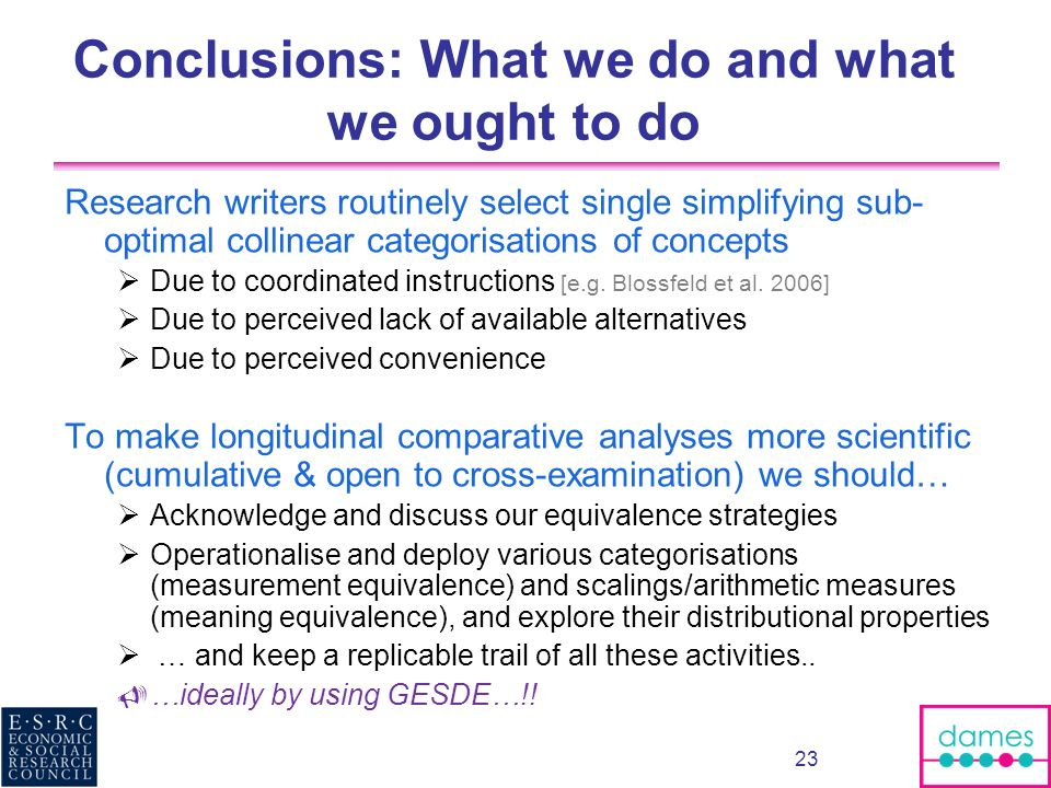 Conclusions: What we do and what we ought to do