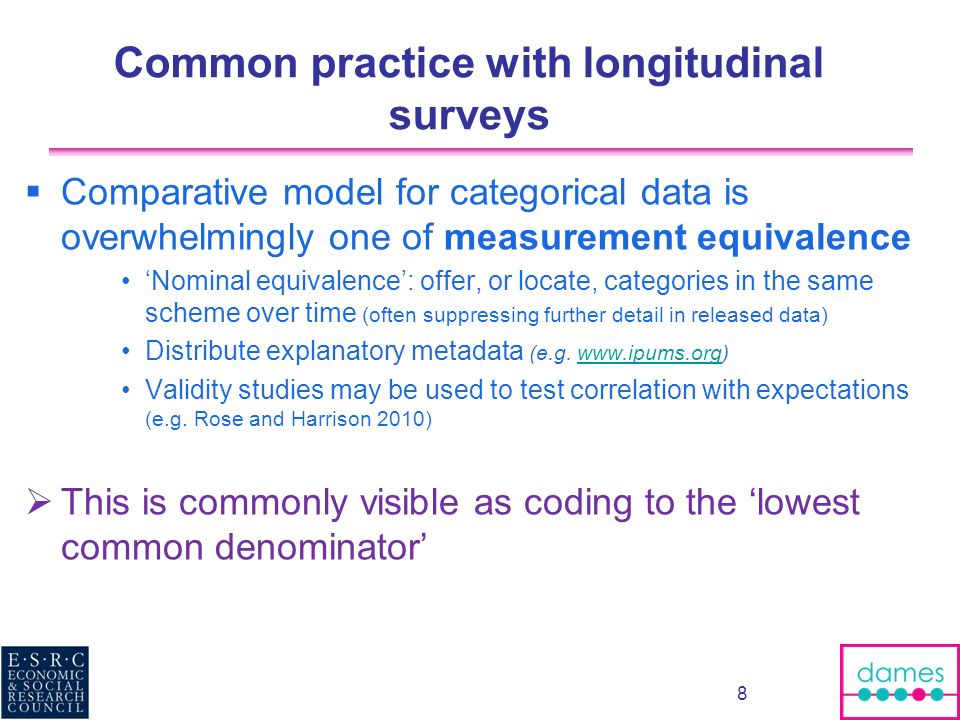 Common practice with longitudinal surveys