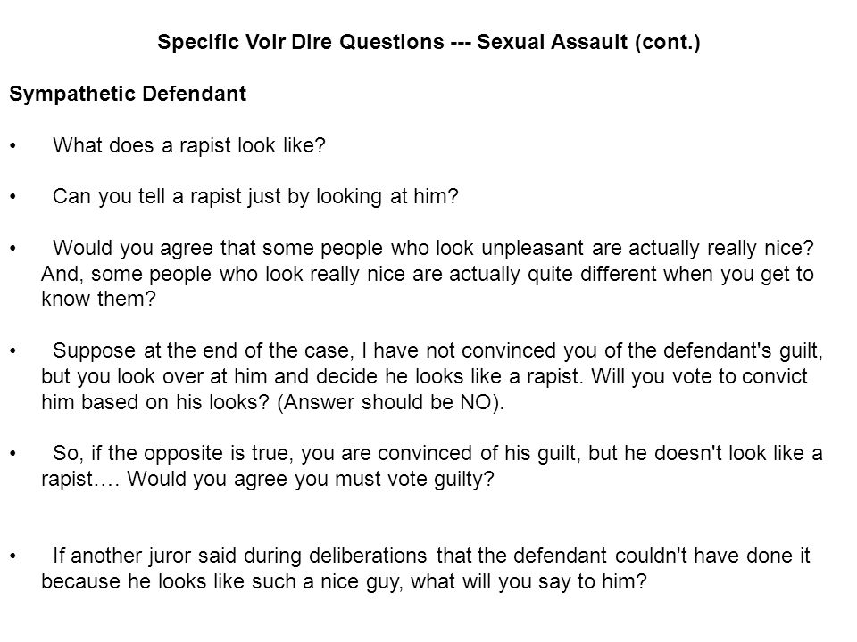 Voir dire preguntas acoso sexual