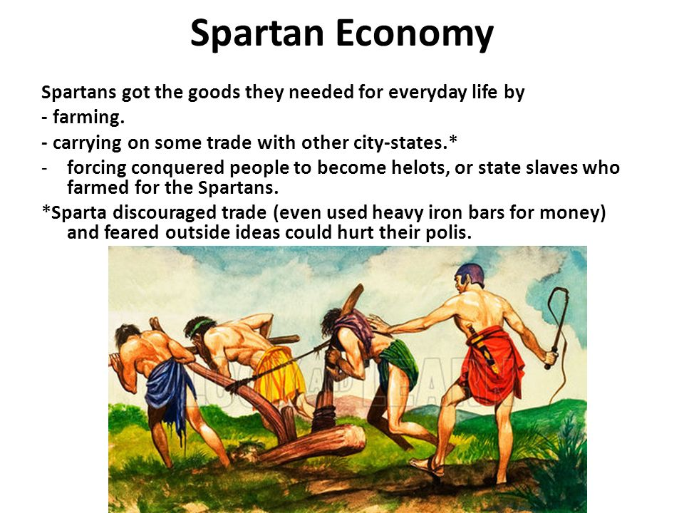 Spartan Economy Spartans got the goods they needed for everyday life by. - farming. - carrying on some trade with other city-states.*