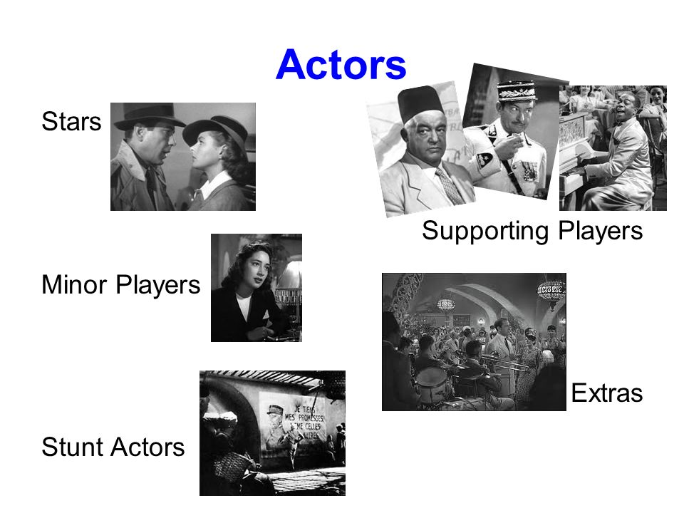 Actors Stars Supporting Players Minor Players Extras Stunt Actors