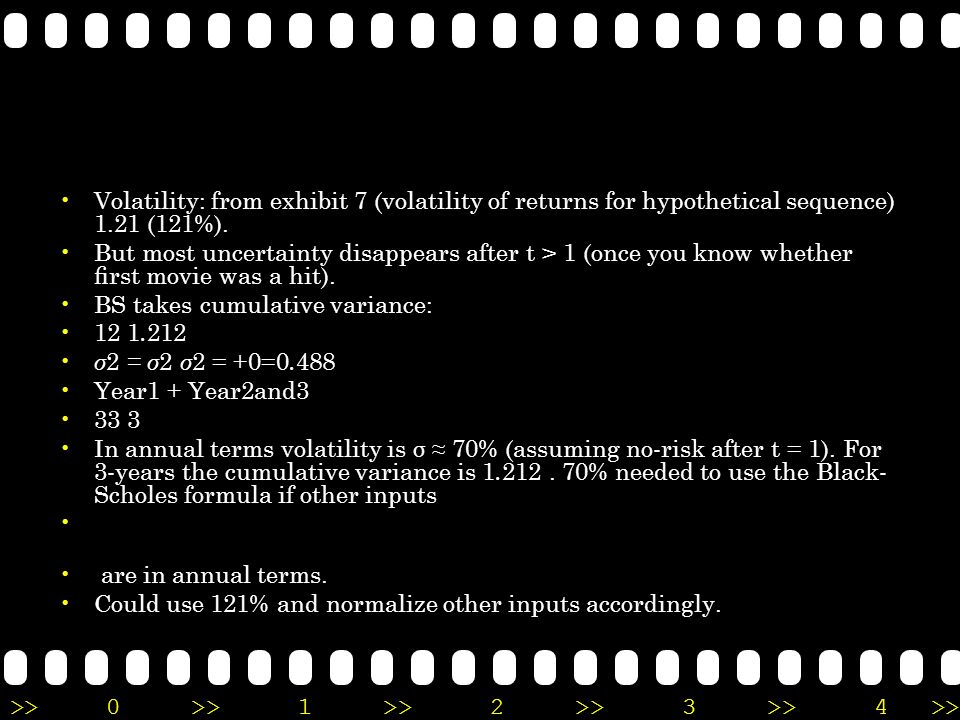 Volatility: from exhibit 7 (volatility of returns for hypothetical sequence) 1.21 (121%).