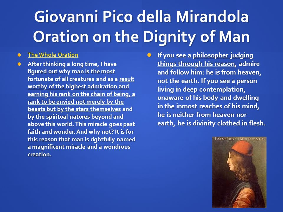 essay on oration on the dignity of man