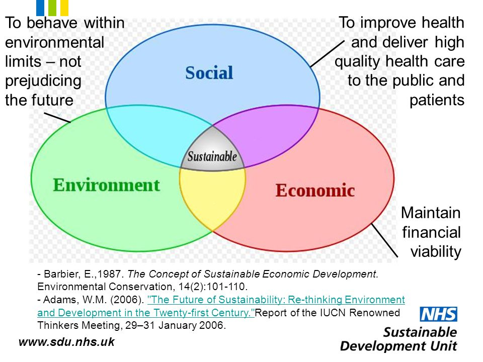 economic sustainability of health services Health and sustainable development  was interconnected with factors such as poor economic growth, inequity,  environmental degradation and weak health services.