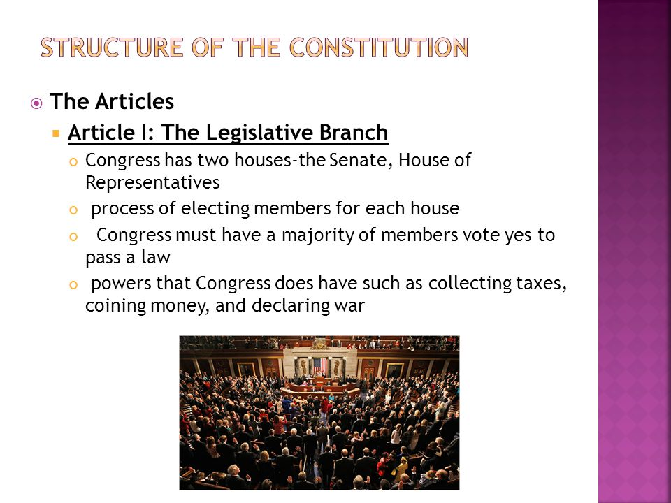 A analysis of the structure of the constitution