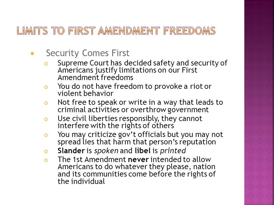 the limits and restrictions of the first amendment First amendment to the united states constitution which has not been confined to the strict limits of the a federal law that imposed new restrictions on.