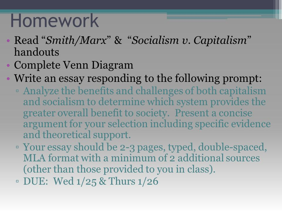 agenda mon tues quiz chapter ppt video online  homework smith marx socialism v capitalism handouts