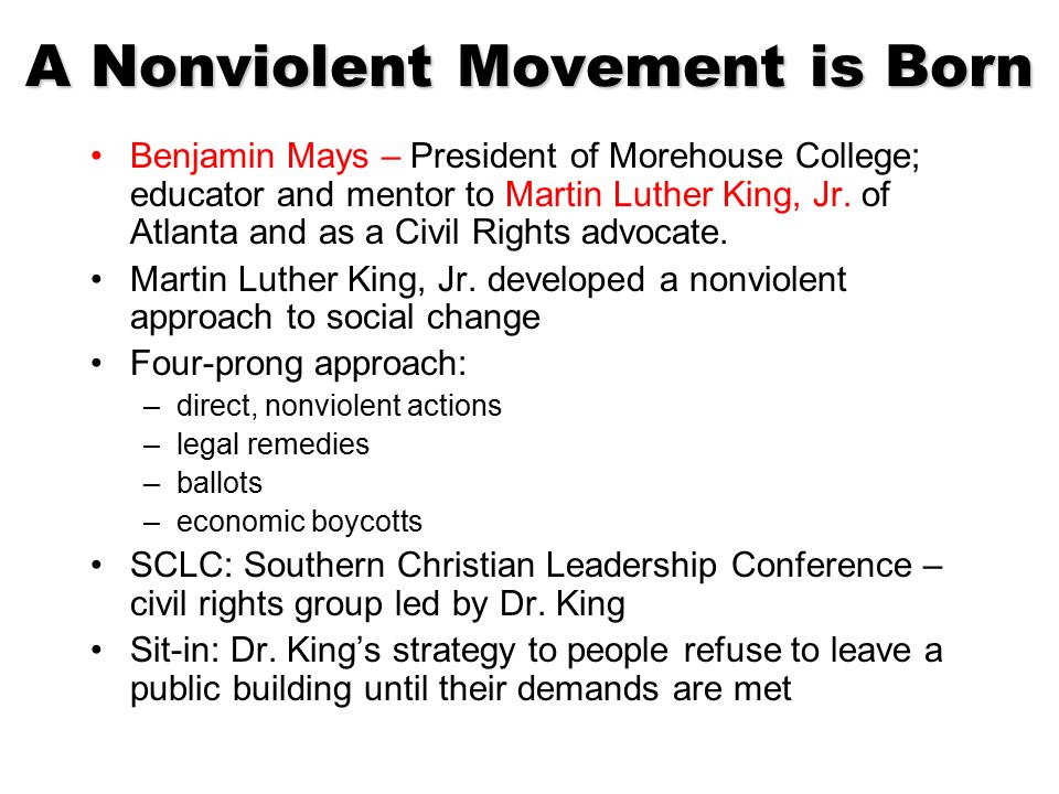nonviolent direct action in the civil rights movement This third lesson, in a series of three that focus on nonviolence, explores the direct action tactics of nonviolence used at different points during the civil rights movement note: this lesson assumes that students have experienced lessons one and two in this series you many need to provide some .