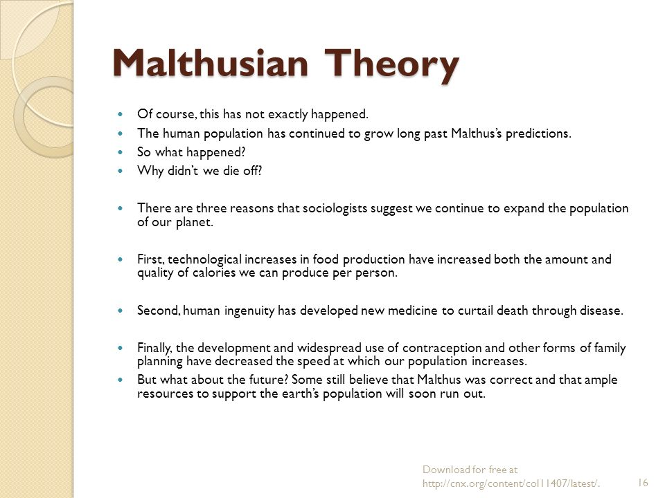 Neo malthusian theory can be used as