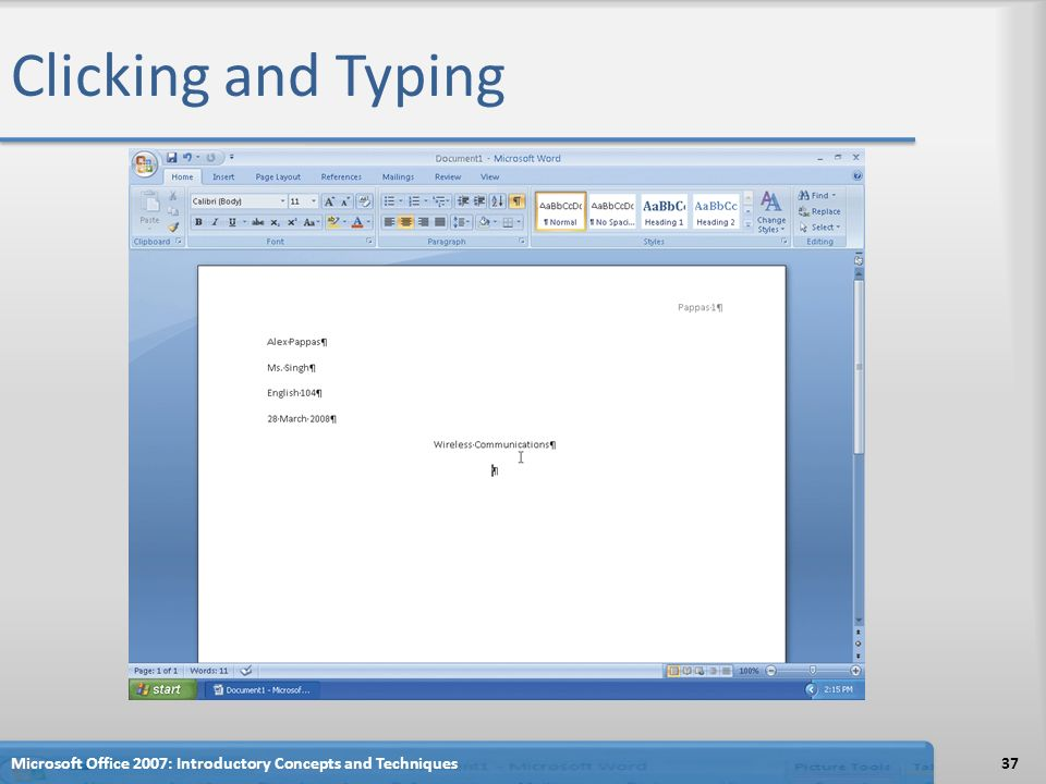 37 Clicking And Typing Microsoft Office 2007 Introductory Concepts Techniques