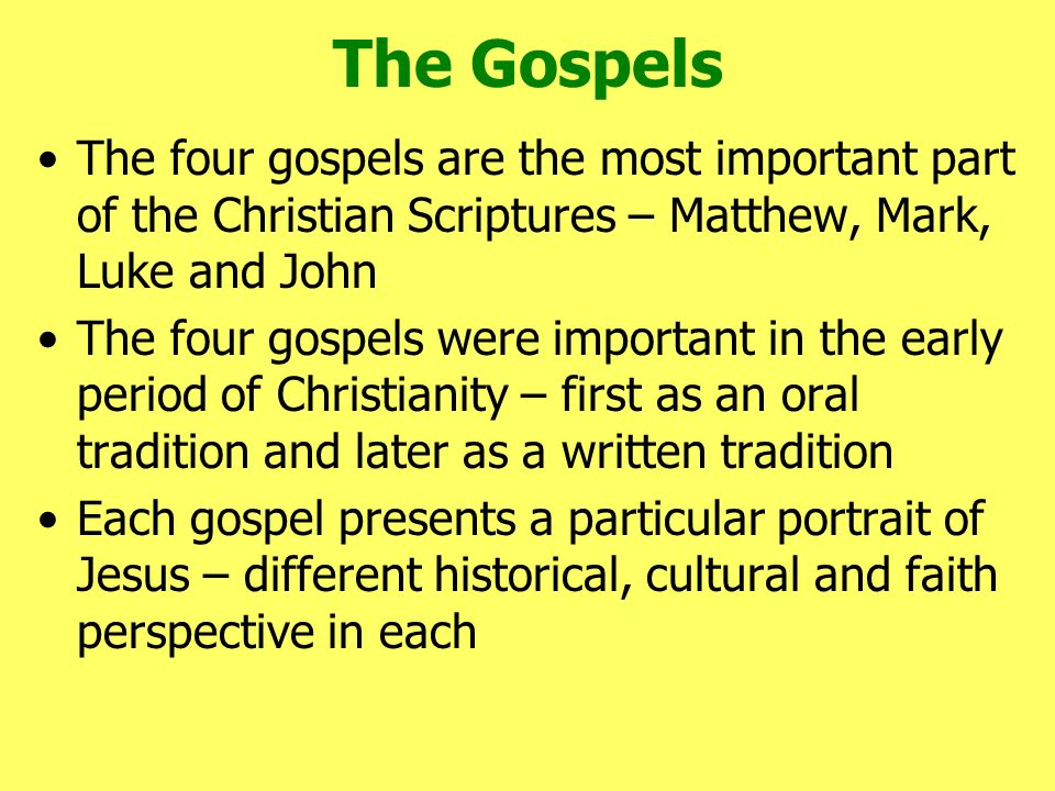 comparing and contrasting the gospels of matthew mark luke and john Comparative studies in the synoptic gospels (fragments)  the four gospels  events : matthew : mark : luke : john : i preparation for the coming of the saviour.