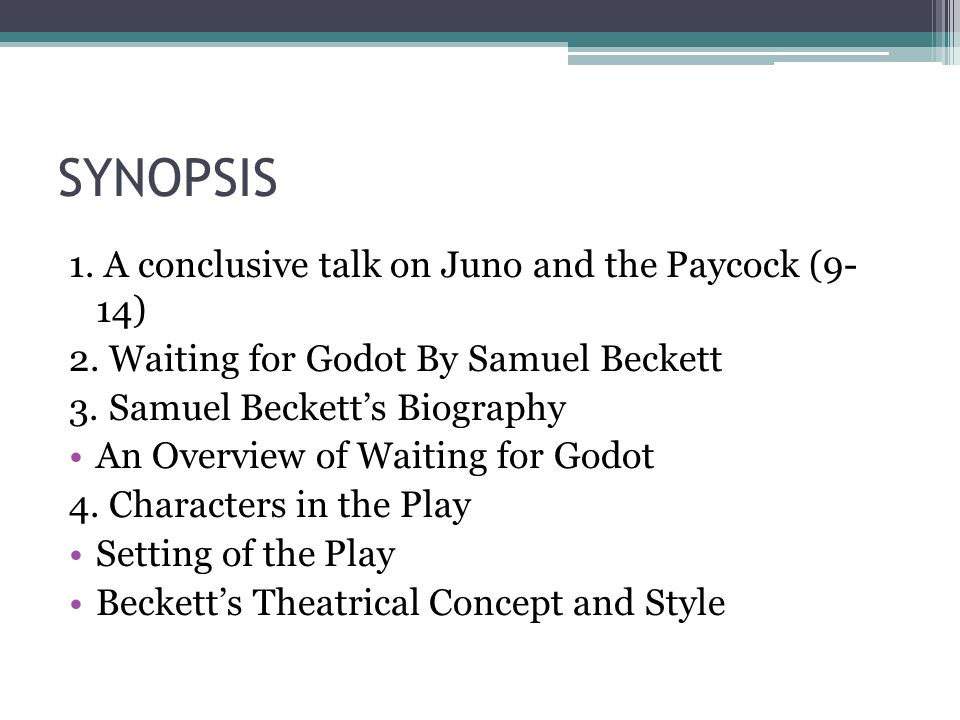 a plot overview of the play waiting for godot This free synopsis covers all the crucial plot points of waiting for godot  decide  to leave, but again they do not move as the curtain falls, ending the play.