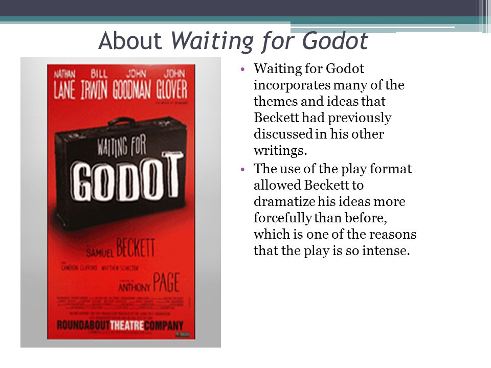 essays on waiting for godot How does ionesco and beckett's dramaturgy in waiting for godot and the bald soprano express the absurdist and existentialist view that life is essentially.
