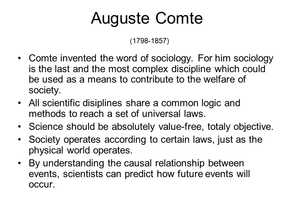 auguste comte and contribution to sociology essay Auguste comte was born in 1798 in france and had a significant part in the formation of sociology comte was the founder of french positivism and comte can also be given credit for inventing or coining the term sociology.