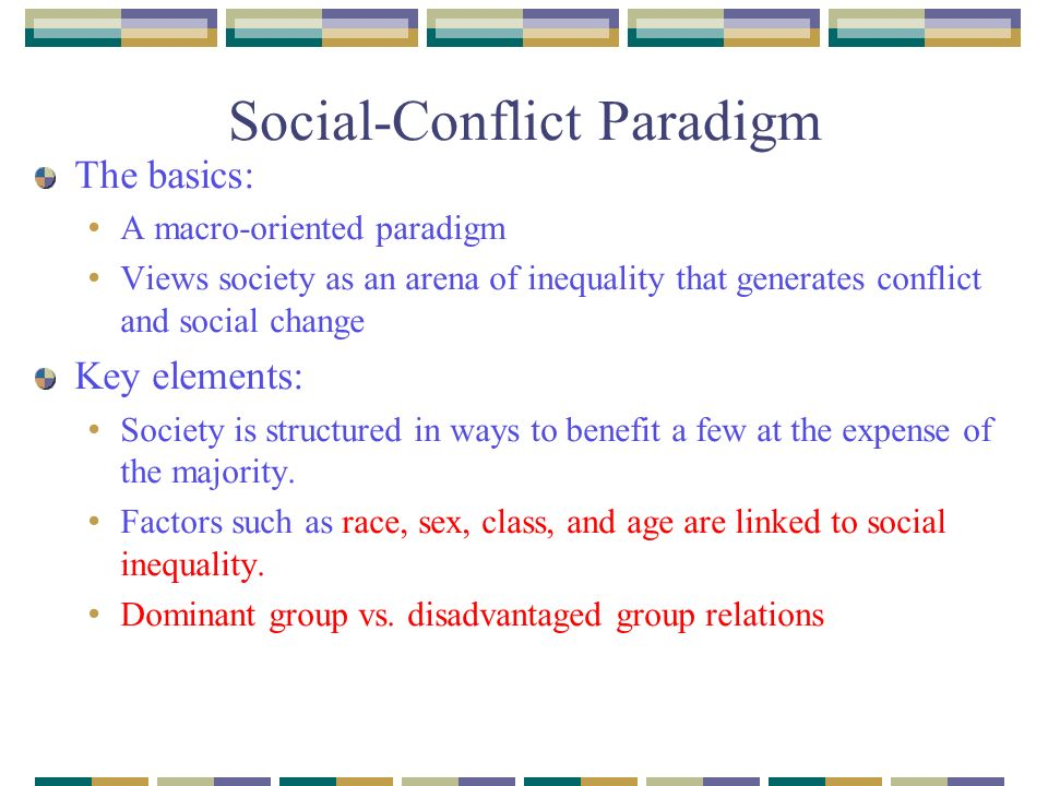 an introduction to the social conflict paradigm Broadly defining conflict resolution, james a schellenberg gives systematic coverage to five main ways people may try to resolve their conflicts: coercion, negotiation, adjudication, mediation, and arbitration the main theories of conflict, both classic and contemporary, are reviewed under four main categories: individual characteristics.