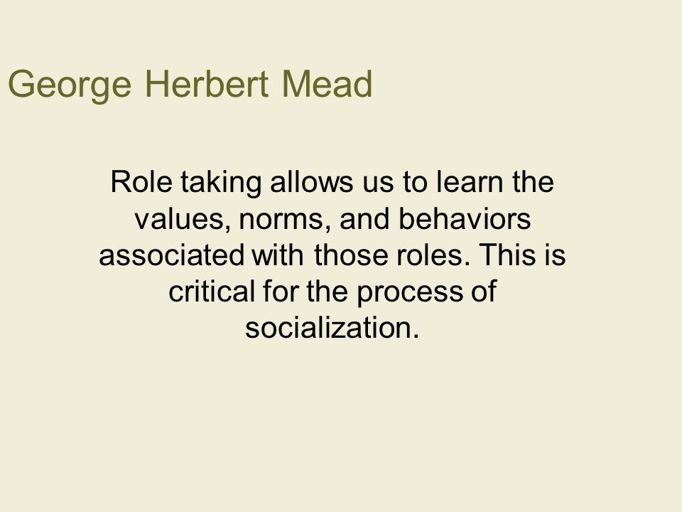 george herbert mead essay Sociologists sometimes come back to george herbert mead as a founder who  still has something important to contribute to contemporary.