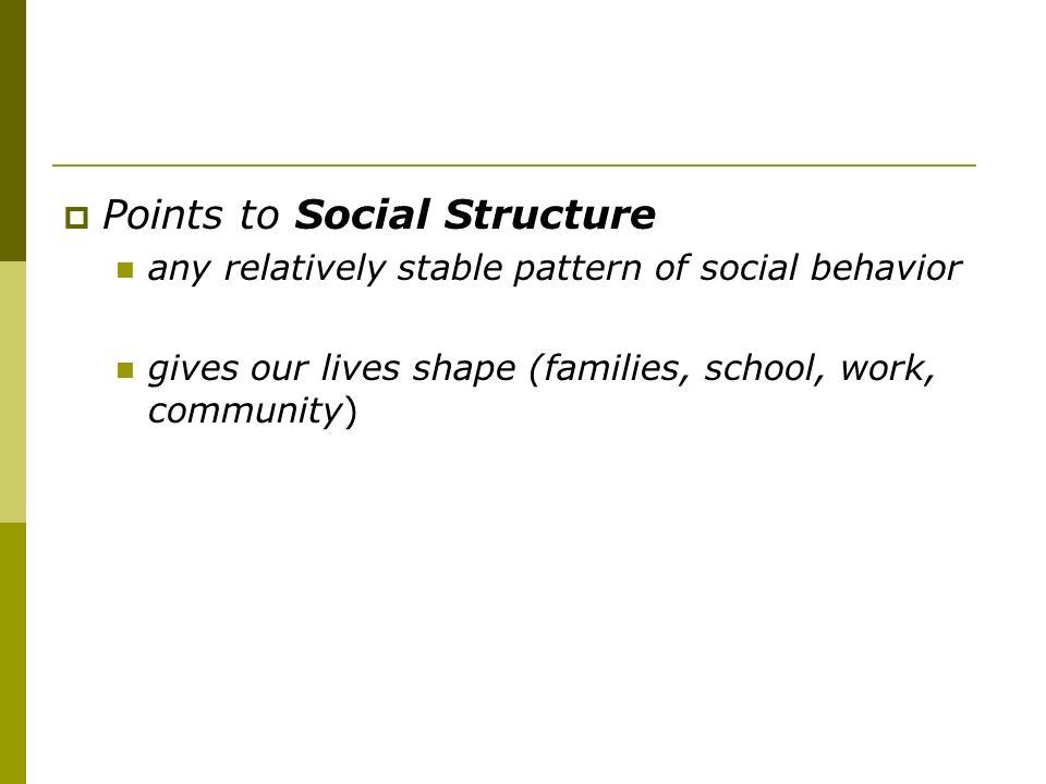 Points to Social Structure