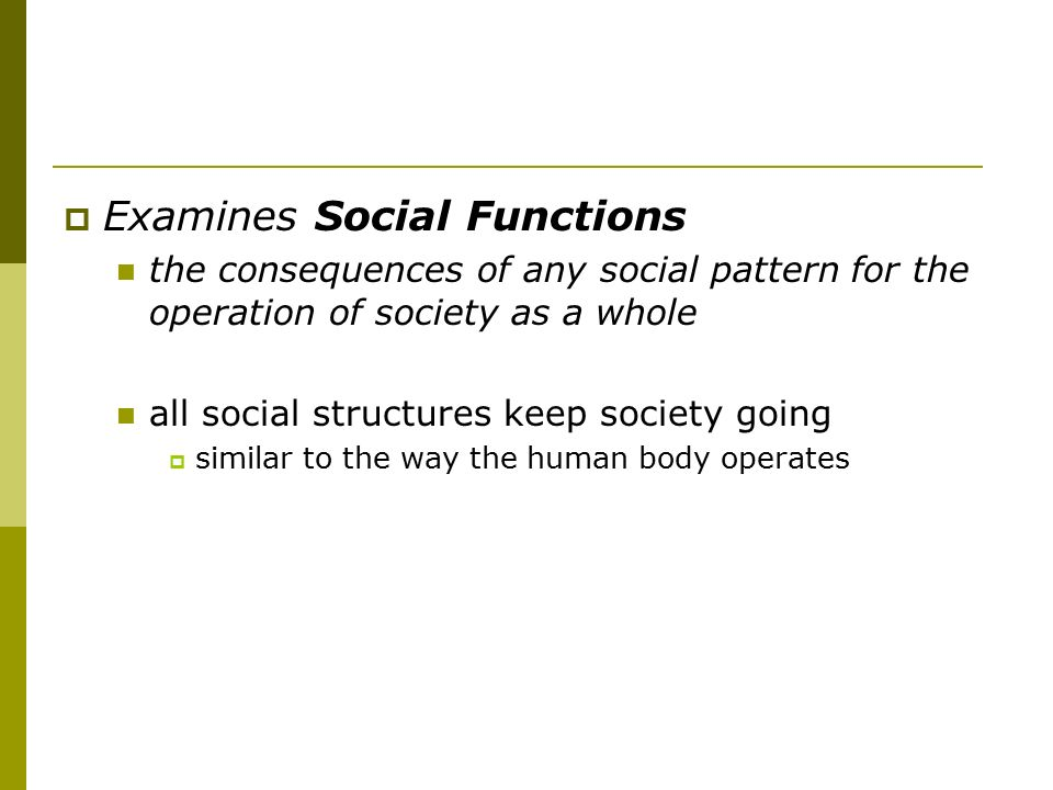 Examines Social Functions