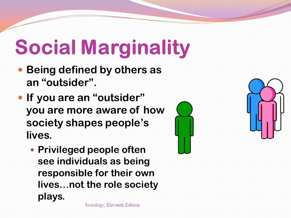 Social Marginality Being defined by others as an outsider .