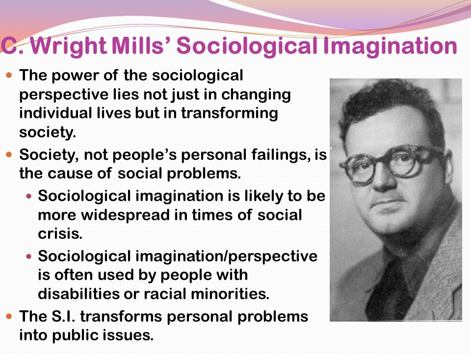 "c wright mills the sociological imagination essay The sociological imagination, written by c wright mills, is an insightful critique of the research taking place in sociology mills states that the sociological imagination is the quality of mind that allows one to understand ""history and biography and the relations between the two within society"" (p6."