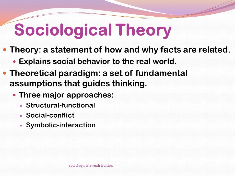 Sociological Theory Theory: a statement of how and why facts are related. Explains social behavior to the real world.