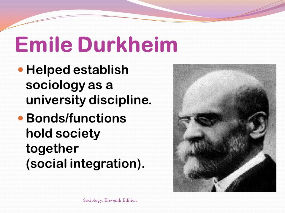 Emile Durkheim Helped establish sociology as a university discipline.