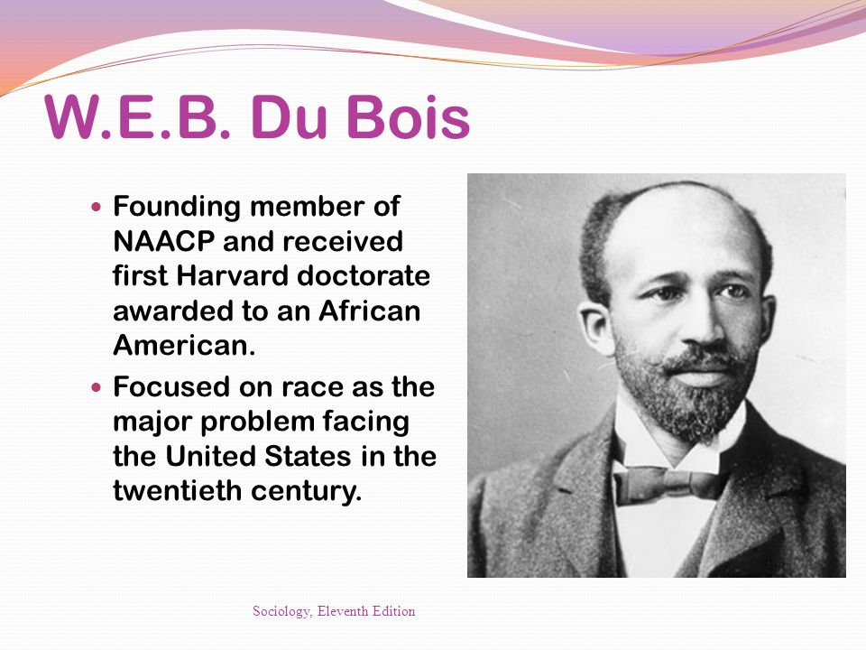 W.E.B. Du Bois Founding member of NAACP and received first Harvard doctorate awarded to an African American.