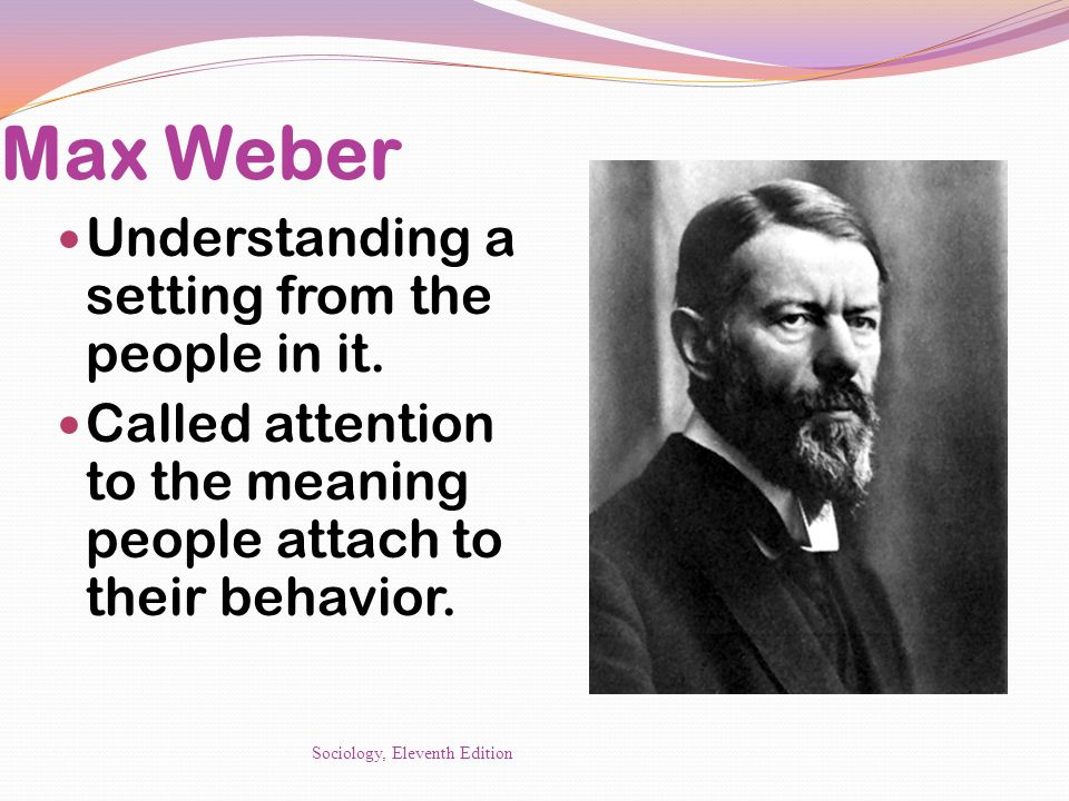 Max Weber Understanding a setting from the people in it.