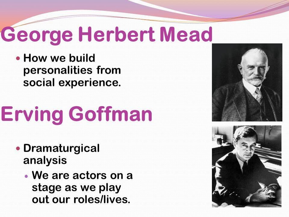 George Herbert Mead Erving Goffman