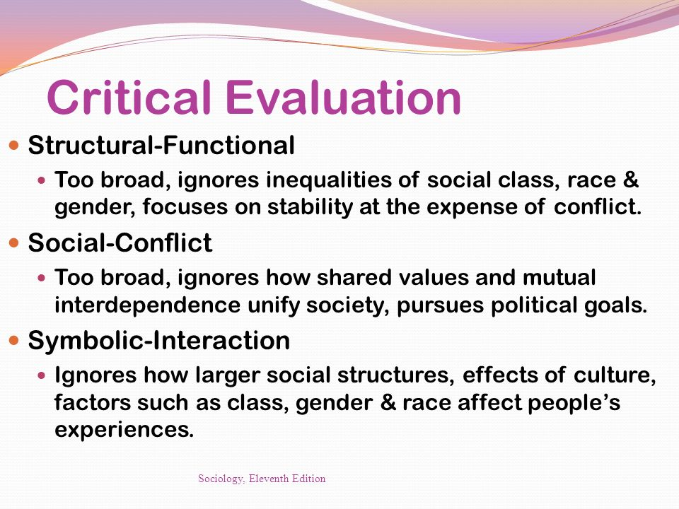 Critical Evaluation Structural-Functional Social-Conflict