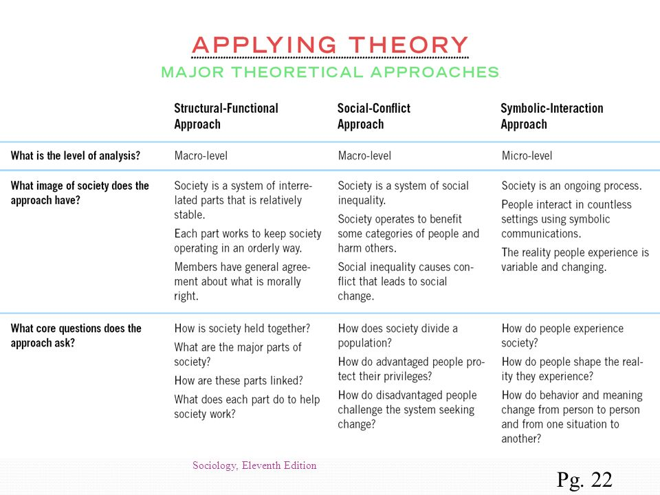 Applying Theory (p. 22) Major Theoretical Perspectives