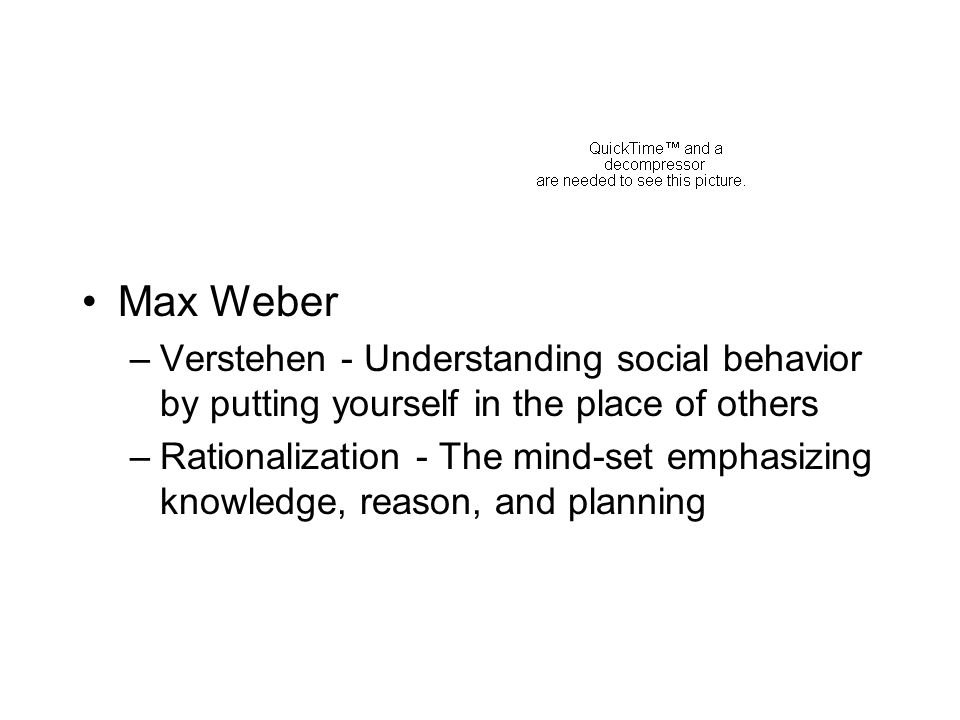 Max Weber Verstehen - Understanding social behavior by putting yourself in the place of others.