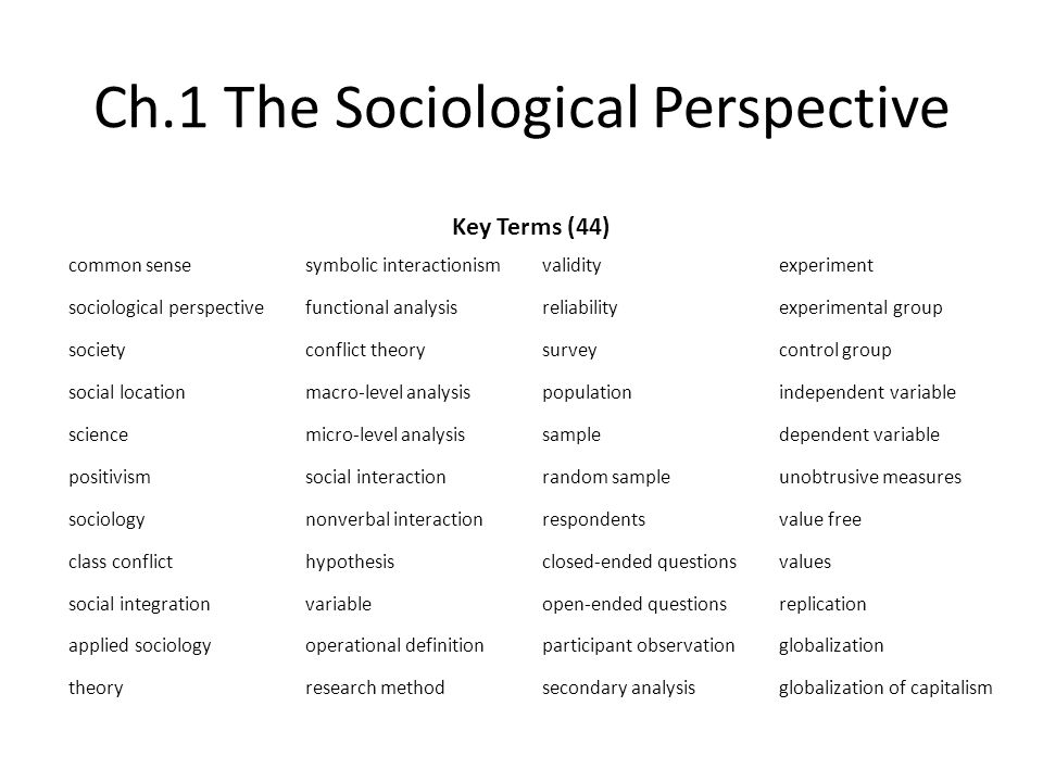 soc 100 chapter 1 the sociological perspective 1) be familiar with the central concerns and key concepts of sociology 2) think sociologically about personal experiences and public issues, 3) be sensitive to social and cultural influences upon human activities and.