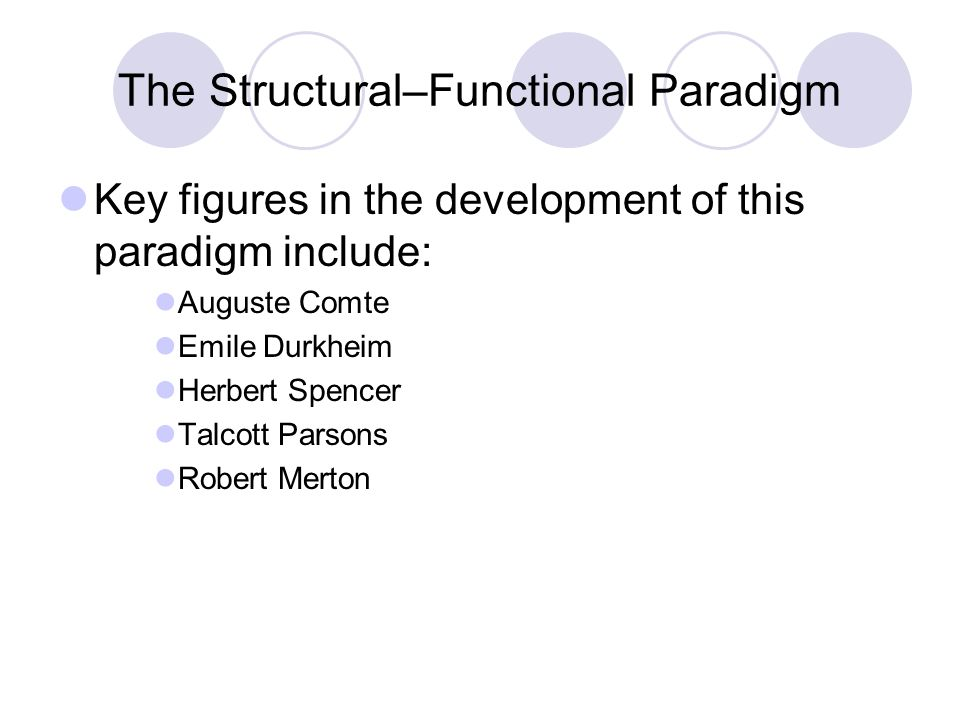 structural functional paradigm Structural functionalism 3 while absent from empirical sociology, functionalist themes remained detectable in sociological theory, most notably in the works of.