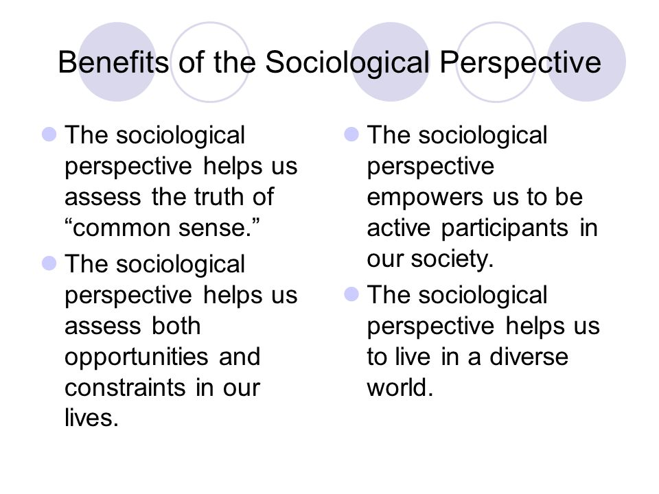 sociology and sociological perspective Theories are an essential part of the framework used to organize specific social  phenomena within the social sciences this lesson introduces the.