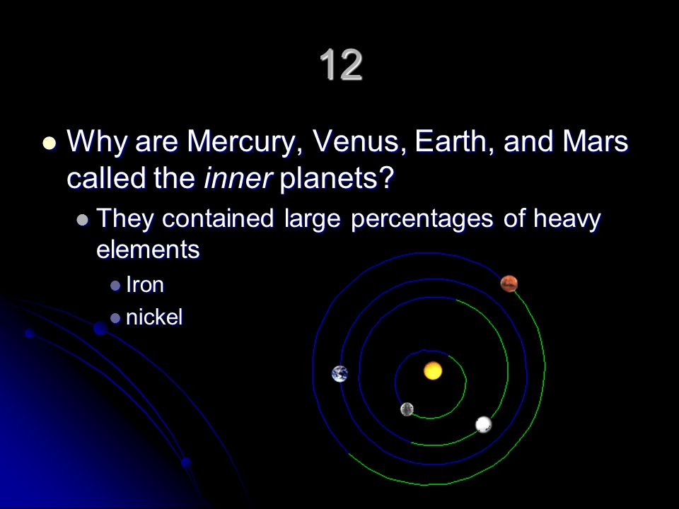 12 Why are Mercury, Venus, Earth, and Mars called the inner planets