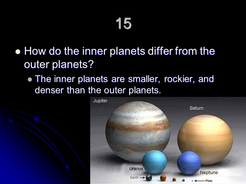 15 How do the inner planets differ from the outer planets