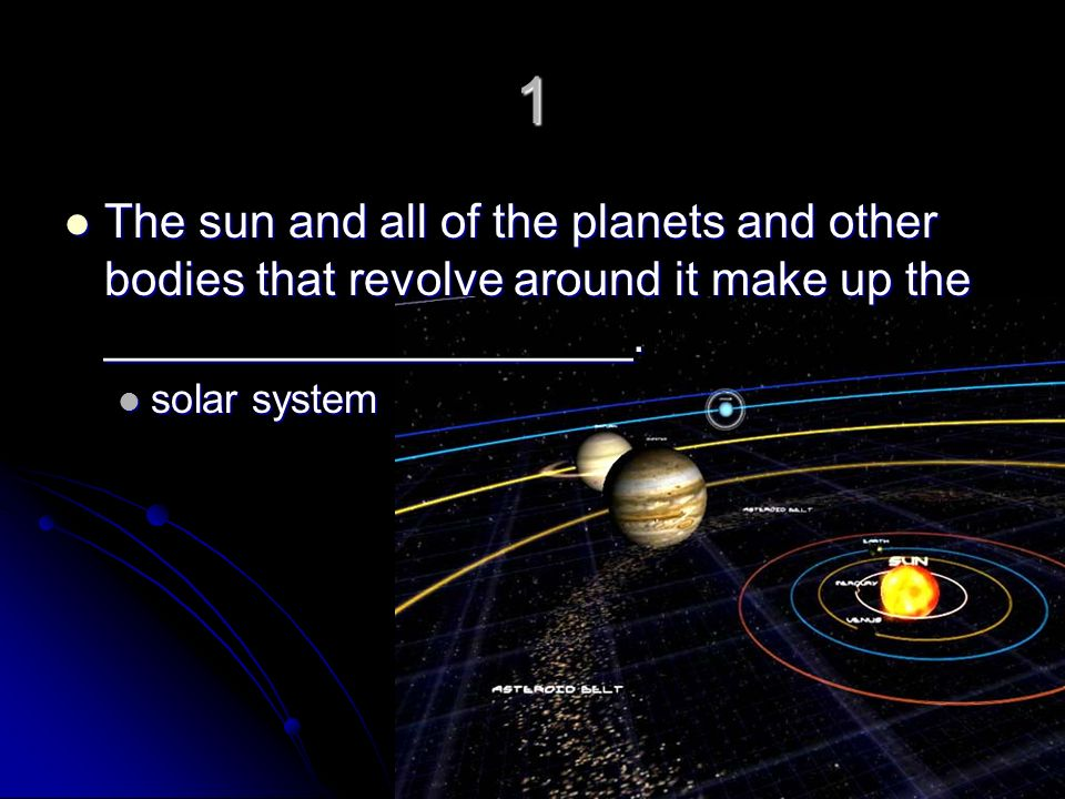 1 The sun and all of the planets and other bodies that revolve around it make up the ____________________.
