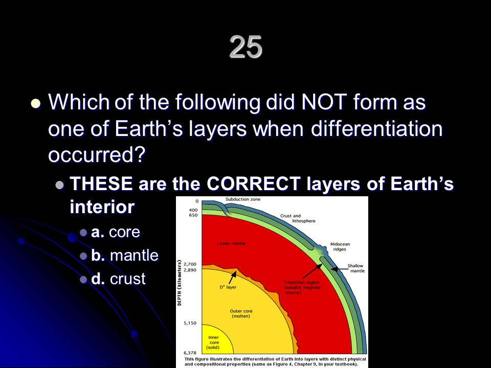 25 Which of the following did NOT form as one of Earth's layers when differentiation occurred THESE are the CORRECT layers of Earth's interior.