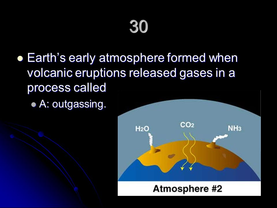 30 Earth's early atmosphere formed when volcanic eruptions released gases in a process called.