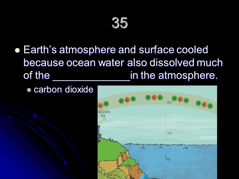 35 Earth's atmosphere and surface cooled because ocean water also dissolved much of the _____________in the atmosphere.