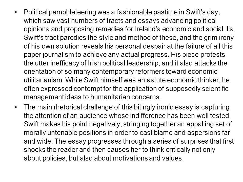 jonathan swift's essay a modest proposal