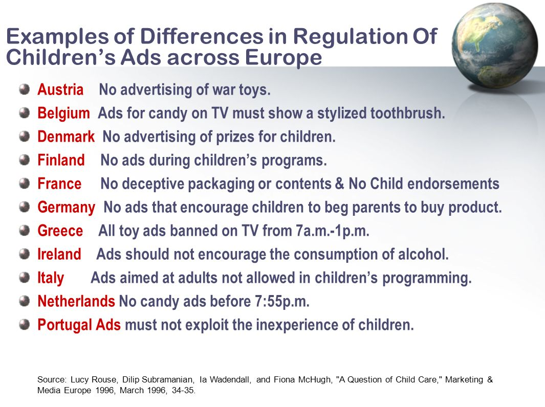 ads aimed at children should be banned Advertising to children is the act of marketing or advertising products or services to children as defined by national legislation and advertising standards it is often the subject of debate, relating to the alleged influence on little children's consumption.
