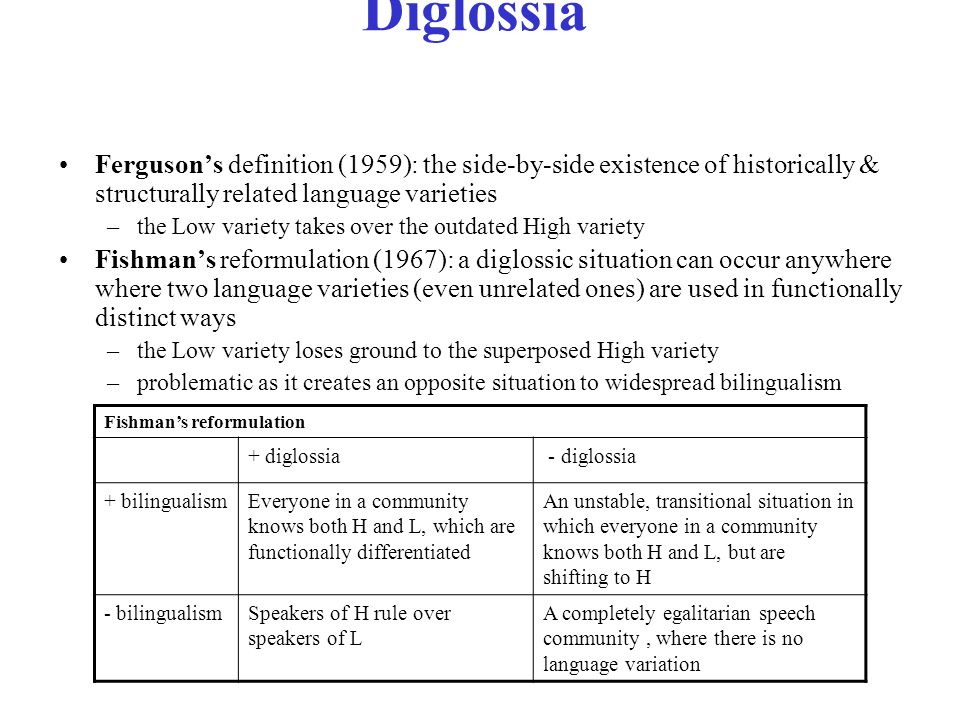 diglossia variety and speech community Diglossia, code-switching, style shifting: a field theory of variety alternation  it is  the norm rather than the exception for speakers and speech communities to.
