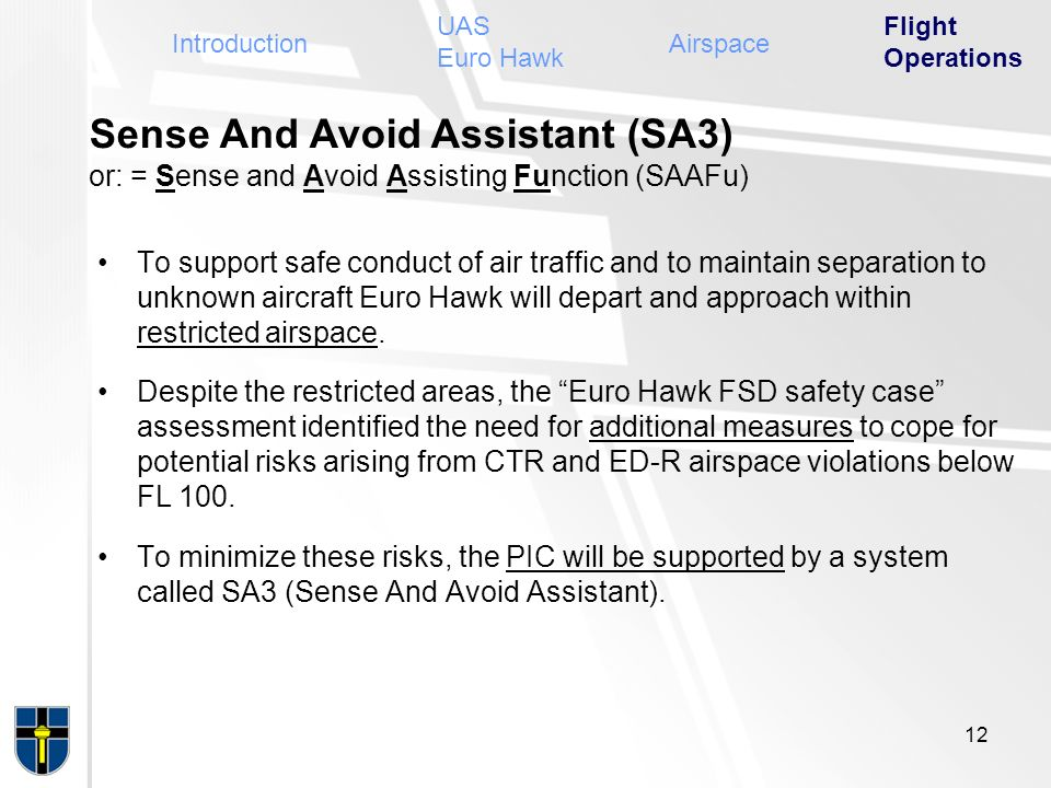 UAS Euro Hawk Flight Operations. Introduction. Airspace. Sense And Avoid Assistant (SA3) or: = Sense and Avoid Assisting Function (SAAFu)