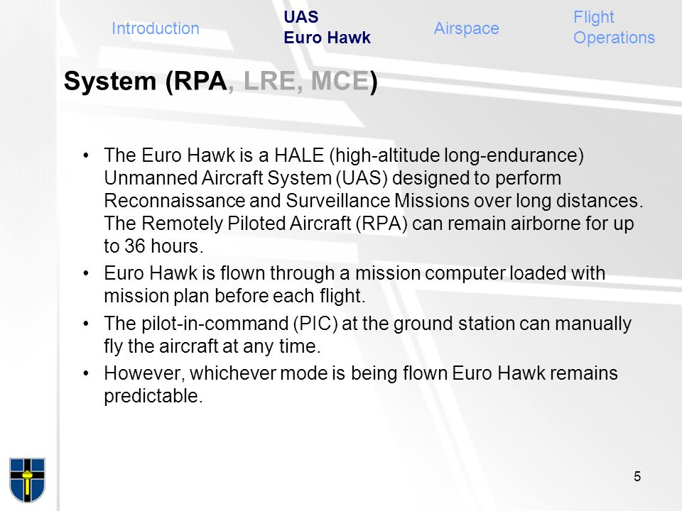 UAS Euro Hawk Flight Operations. Introduction. Airspace. System (RPA, LRE, MCE)