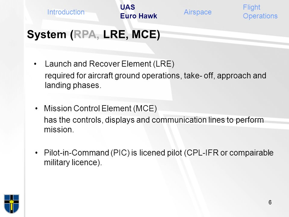 System (RPA, LRE, MCE) Launch and Recover Element (LRE)