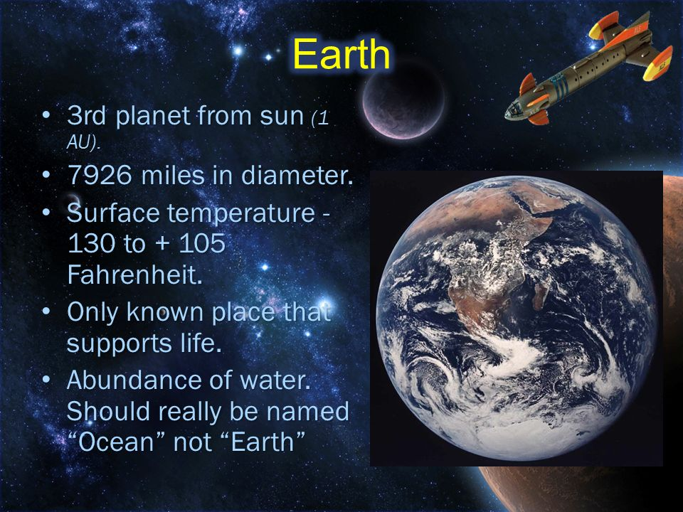 Earth 3rd planet from sun (1 AU) miles in diameter.