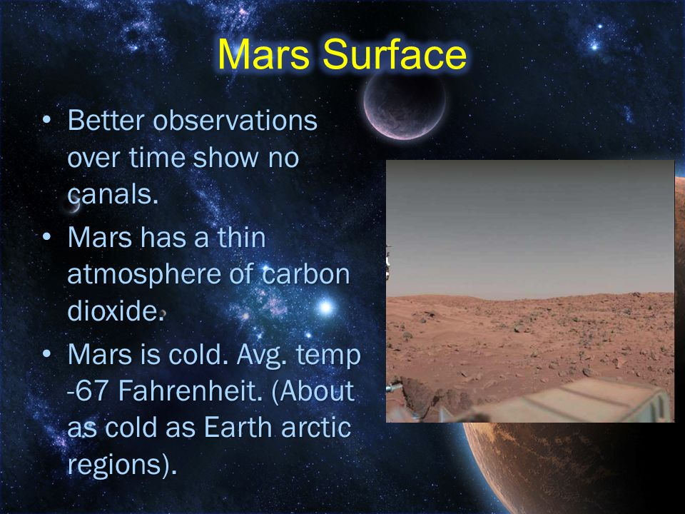 Mars Surface Better observations over time show no canals.