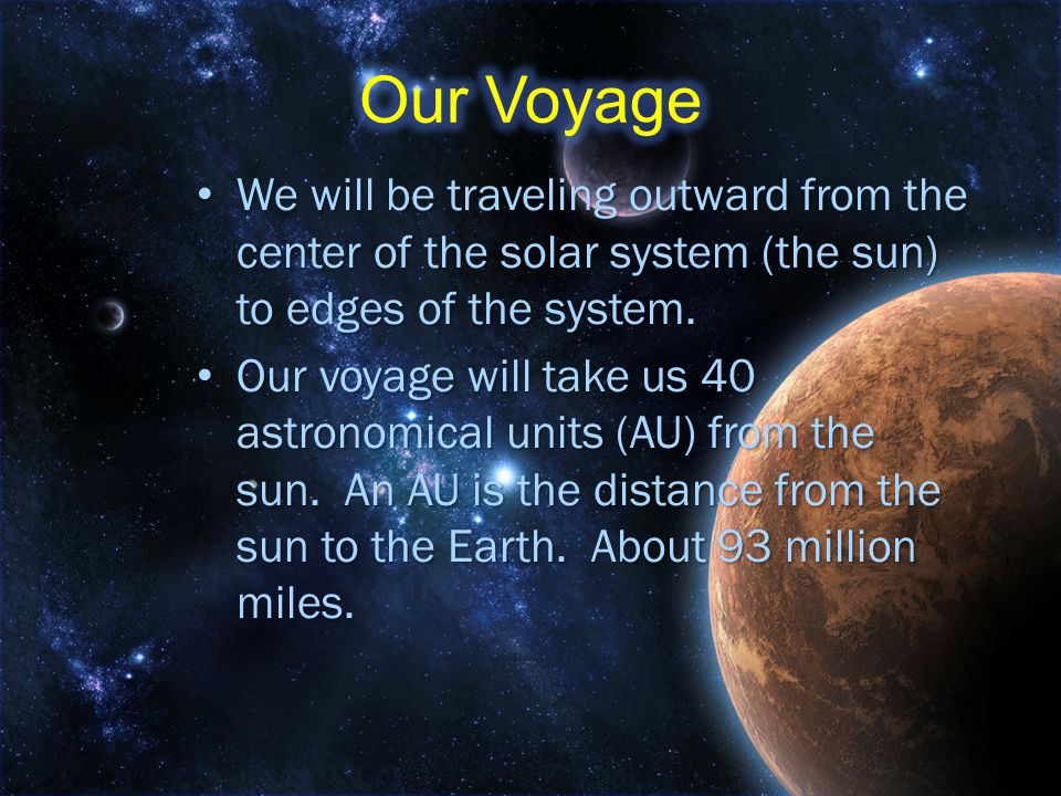 Our Voyage We will be traveling outward from the center of the solar system (the sun) to edges of the system.